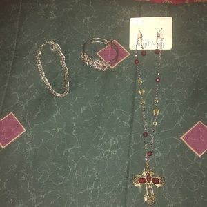 2 brackets and 1 necklace with earrings